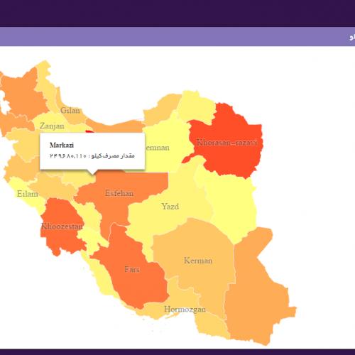 نمونه گزارش آماری و داشبورد مدیریتی نقشه ایران